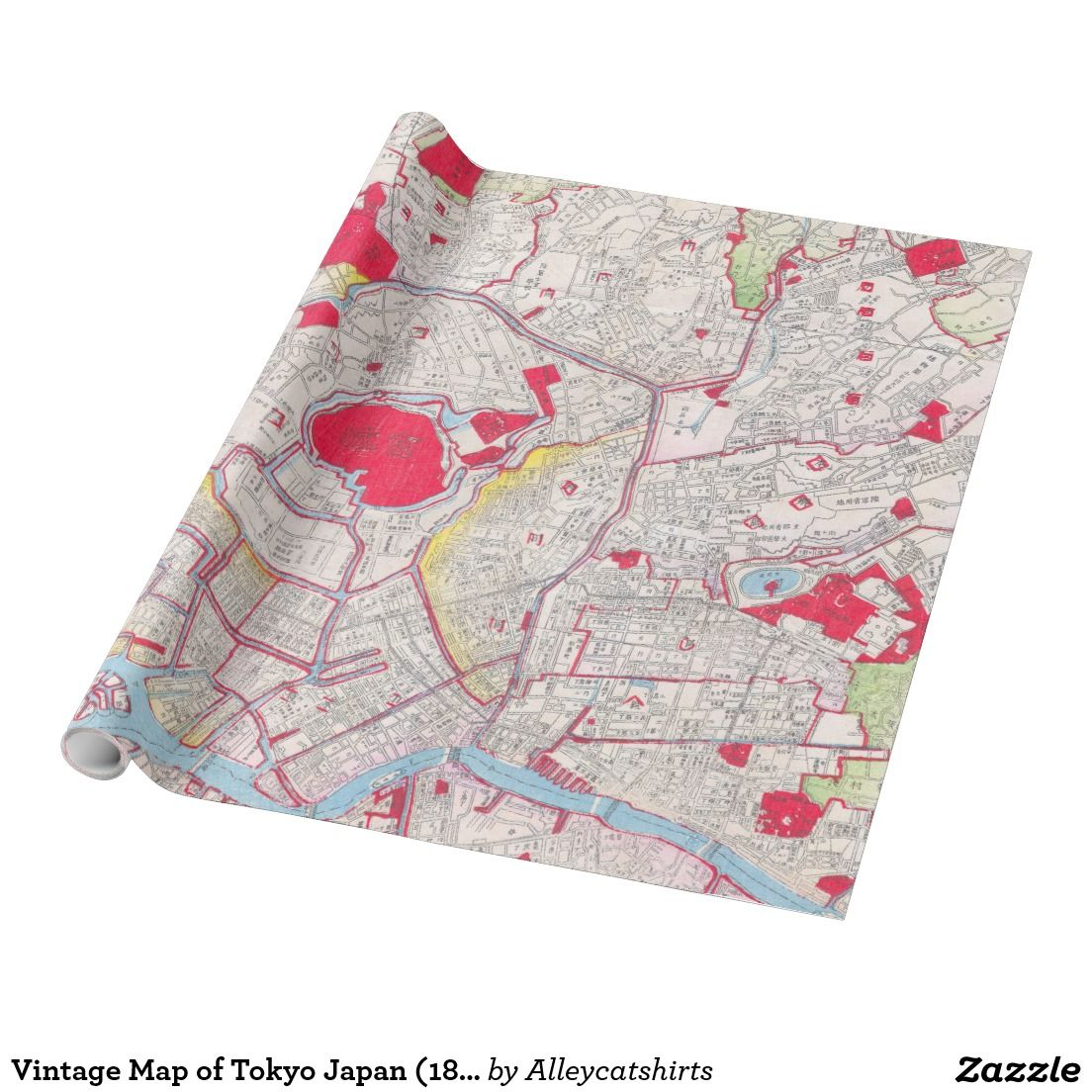 Vintage Map of Tokyo Japan 1880 Wrapping Paper