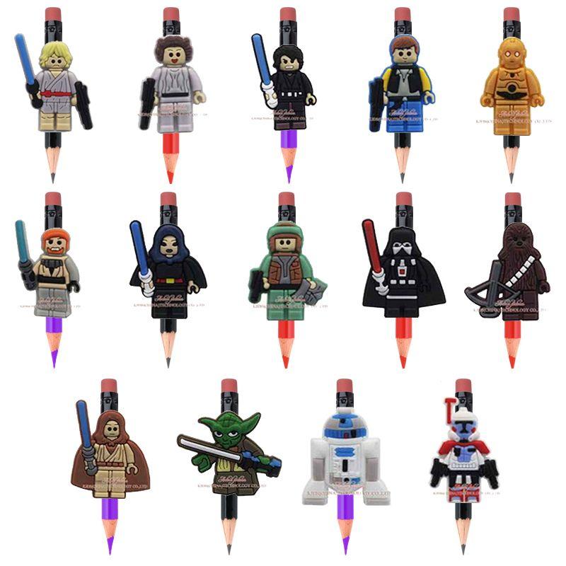 Hot Style 14pcs Legoes Star War Cartoon Plastic Pencil Cap School Stationery Pencil Accessories K Diy School Stationery Fashion School Supplies Kids Party Gift