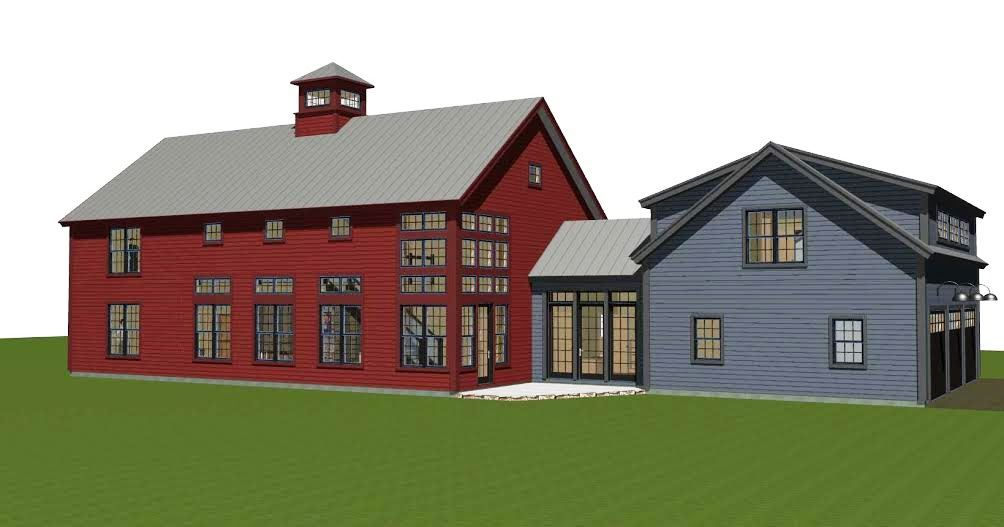Contemporary post and beam the bancroft open floor for Modern barn house floor plans