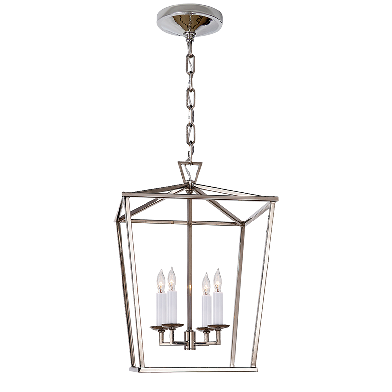 Simple Small Darlana Lantern available in gilded gold iron or polished nickel frame will accept up to 60 watt candelabra bulbs the fixture itself measures 12 Review - Minimalist small lantern pendant light Photos