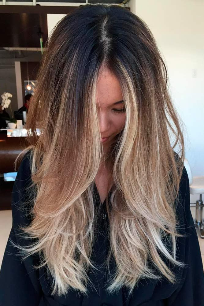 Long Layers With Perfect Ombre Black Hair Balayage Hair Styles Balayage Hair