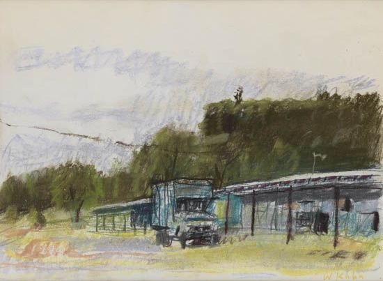 """Hinesburg, New Hampshire Raceway,"" Wolf Kahn, 1978-80, pastel on cream wove paper, 9 3/8 x 12 3/8"", private collection."