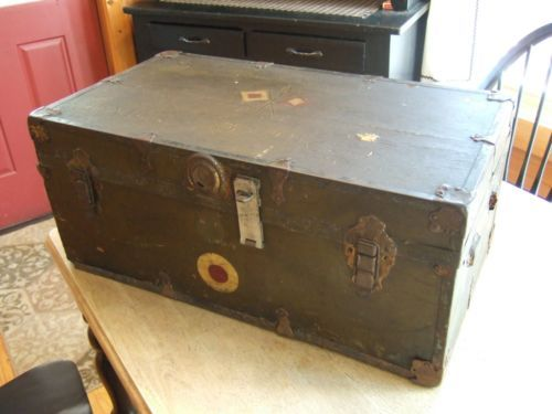 rare vintage ww1 military foot locker trunk case identified 37th