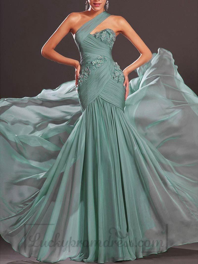 Charming Green Chiffon Long Sleeveless One Shoulder Light Handmade Formal Prom Dress