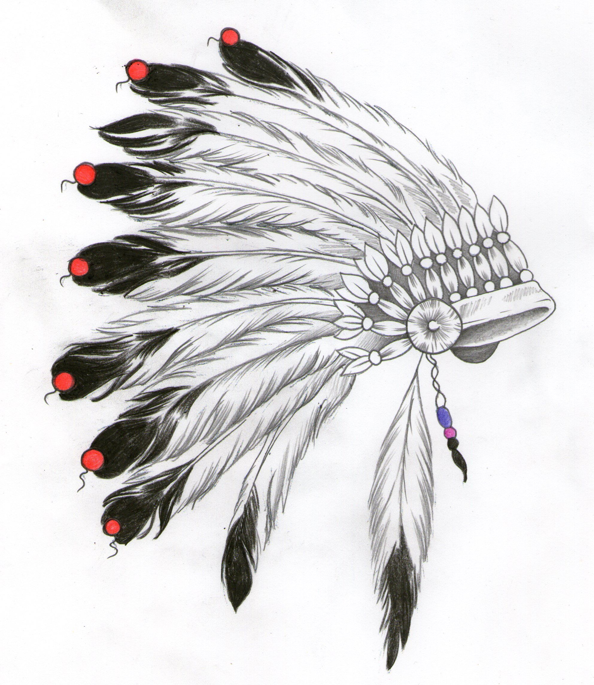 how to draw a native american headdress