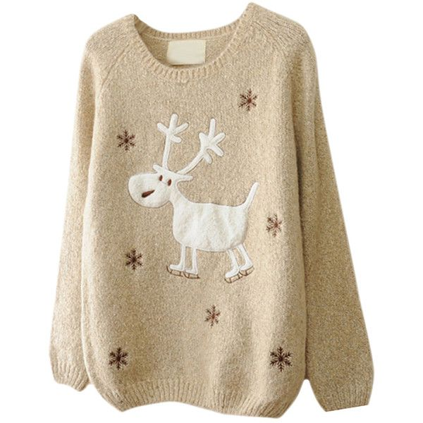 beige womens reindeer snowflake jumper ugly christmas sweater 29 a liked on polyvore featuring