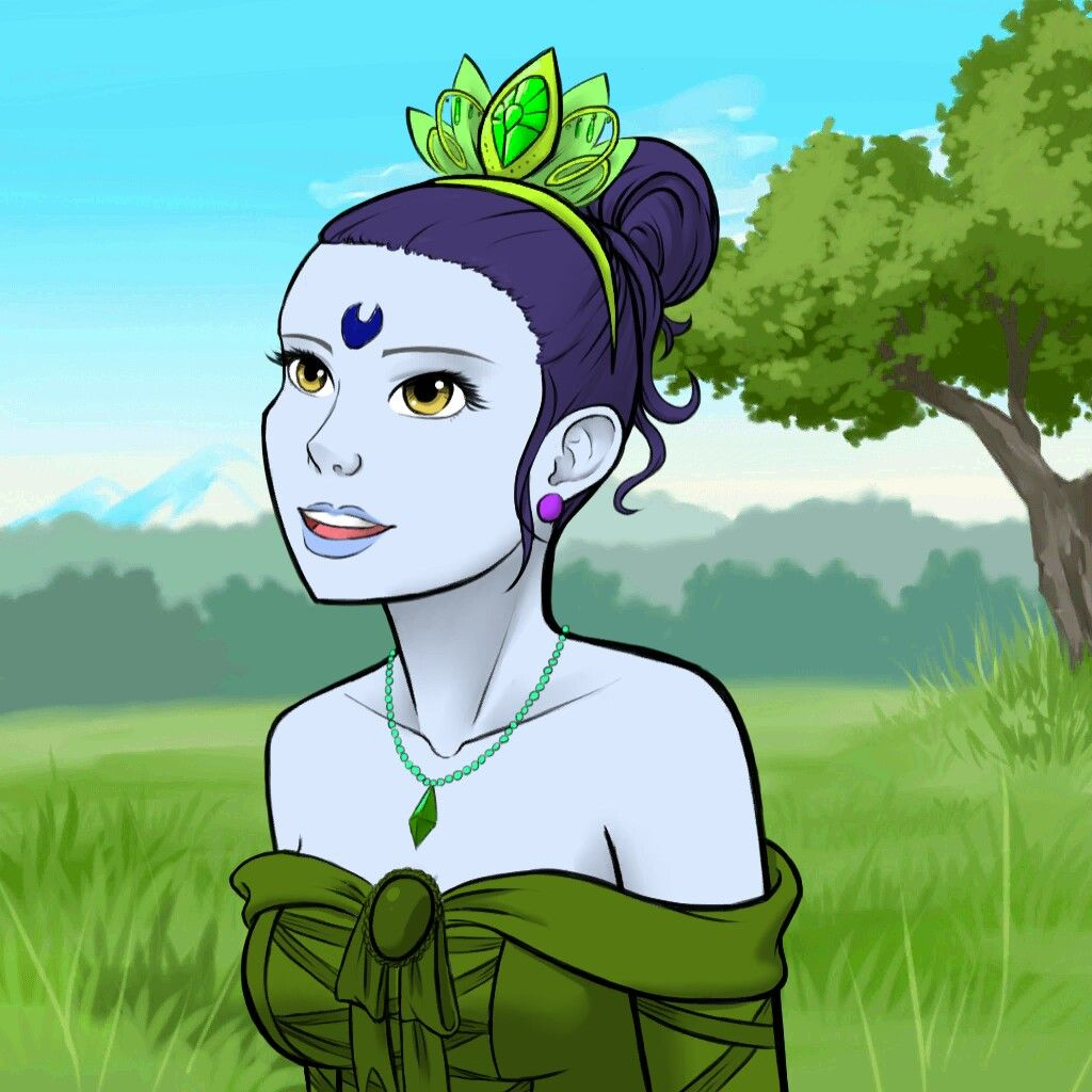 Blue princess wearing green, made on Avatar Maker
