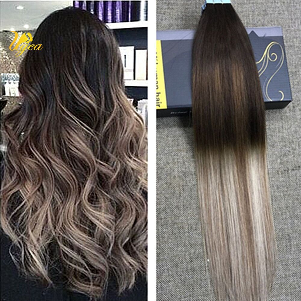 Balayage Ombre Brazilian Remy Pu Tape In Human Hair Extensions Dark Brown Blonde Dark Ombre Hair Brown Hair Pictures Tape In Hair Extensions