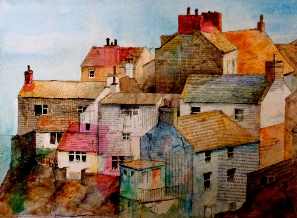 Staithes - Acrylicand Newsprint Collage by Malcolm Coils   Watercolor art, Painting, Landscape art