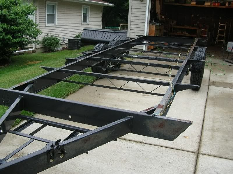 Pics Of My Car Hauler Trailer Built With A Millermatic 175 Miller Welding Discussion Forums Car Hauler Trailer Trailer Build Trailer