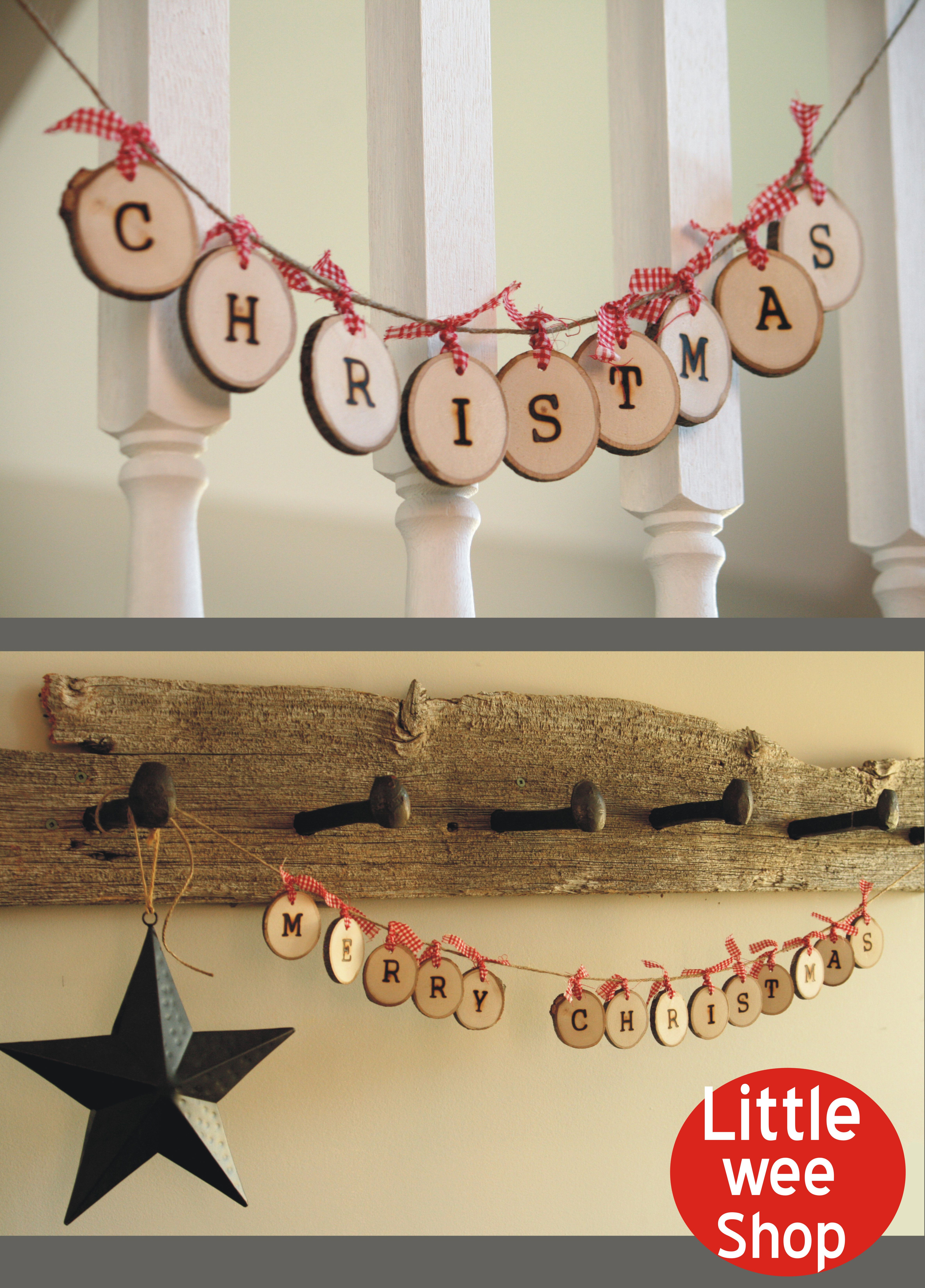 Merry Christmas Garland from Little Wee Shop on Etsy Great rustic