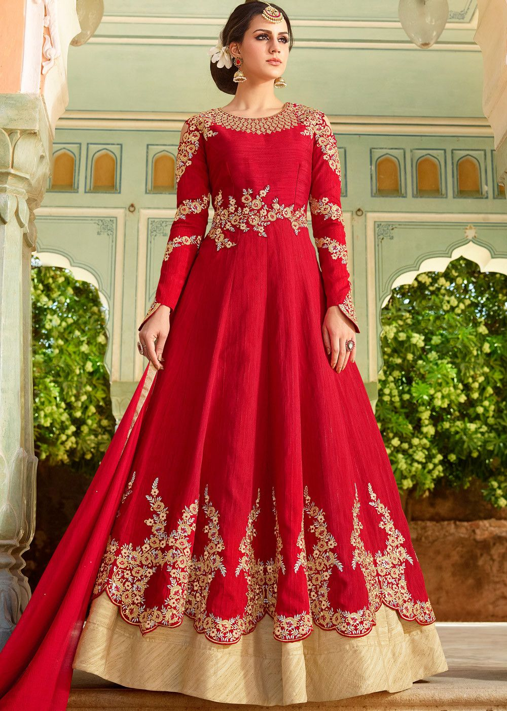 606b16aebd6 Scallop edged long  kameez in art  silk embellished with  floral resham  embroidery and stone work.