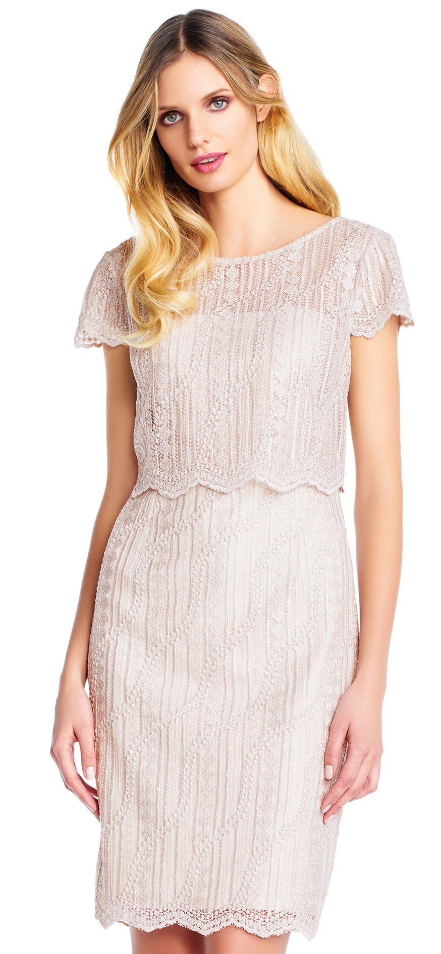 Scalloped popover embroidered lace dress with short sleeves