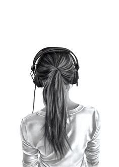 Girl With Headphones Drawing Tumblr Google Search Drawing - Hairstyle drawing tumblr