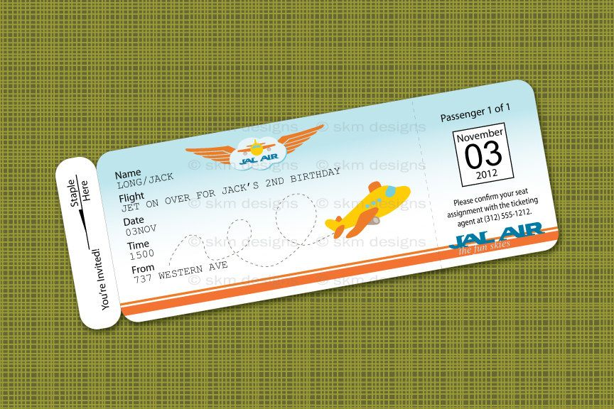 Printable Airplane Birthday Party Airline Ticket