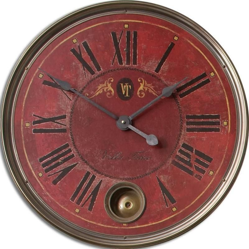 Tuscan Villa Weathered Internal Pendulum Wall Clock   Premier Home Decor