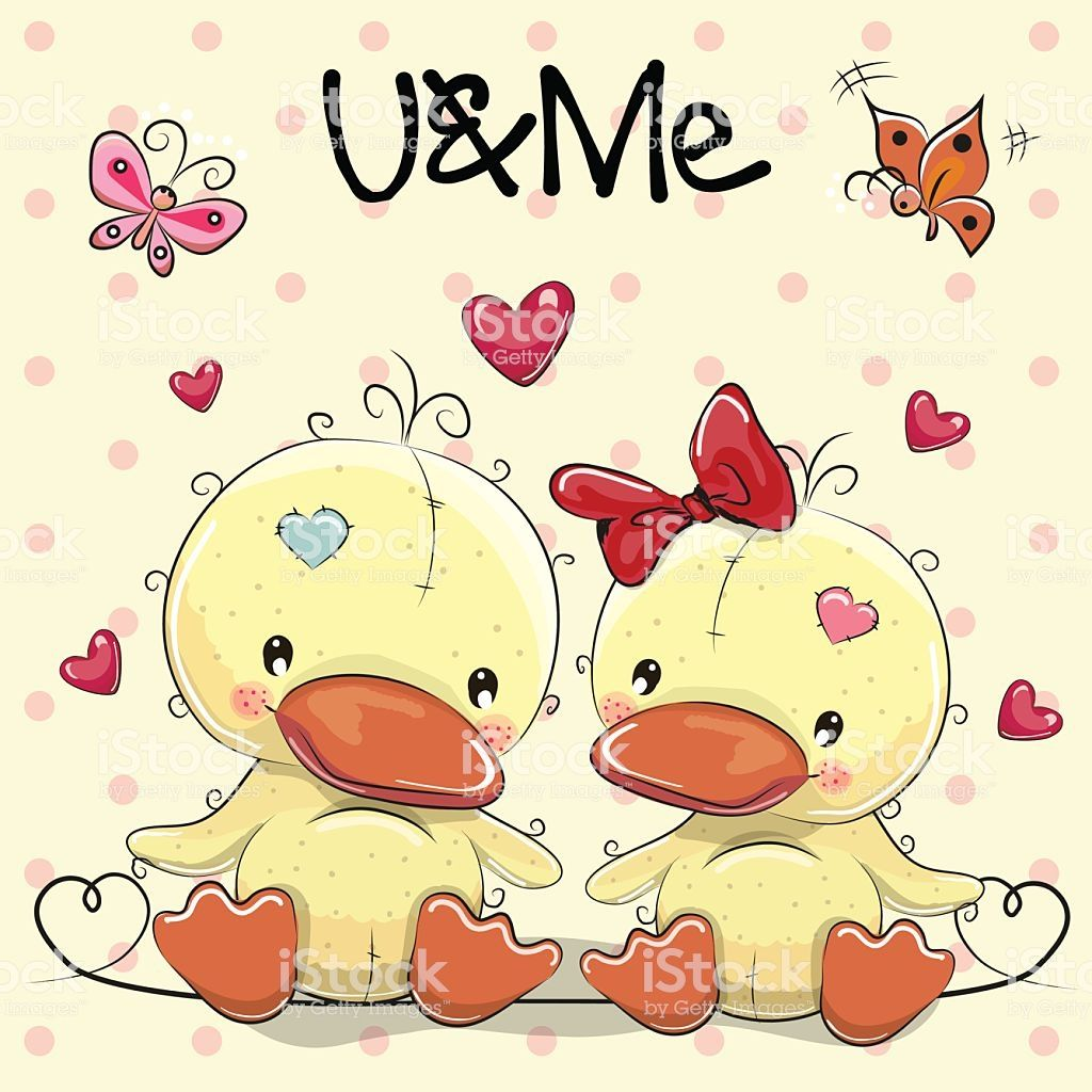 Two Cute Ducks on a hearts background birds