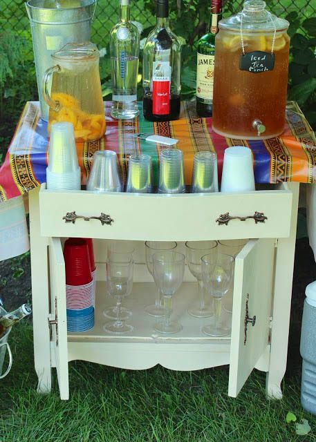 Great garden party idea turn an old washstand into a serving