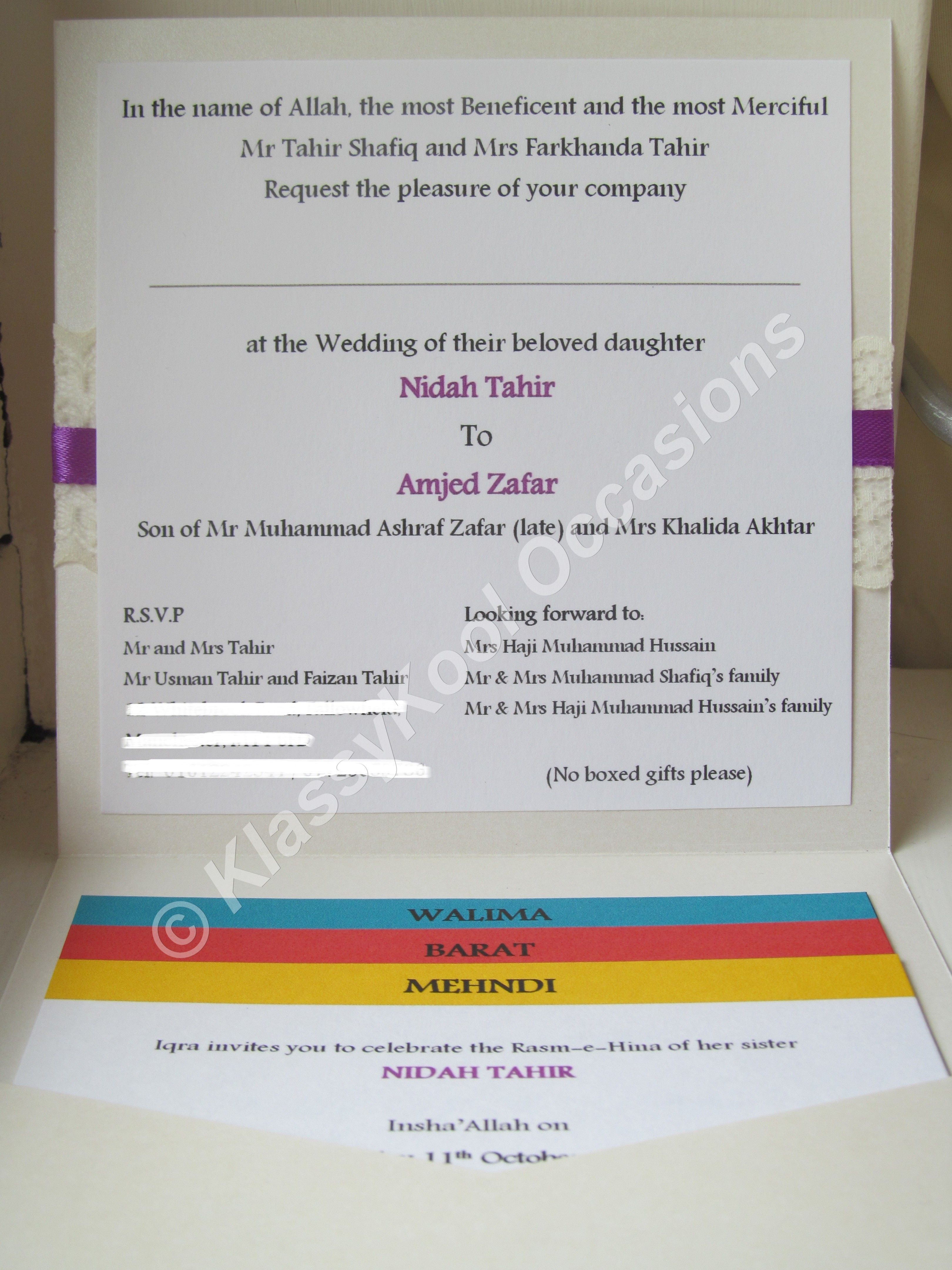 Inside Asian Pocketfold Wedding Invitation Handmade Wedding