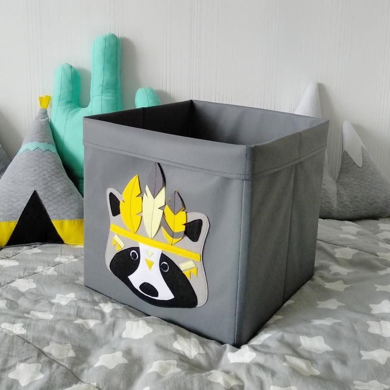 A Handmade Toy Box With Felt Application Is Ideal For Storing Your Kids Toys It Will Become A Unique Pi Toy Storage Baskets Toy Storage Bins Toy Storage Boxes