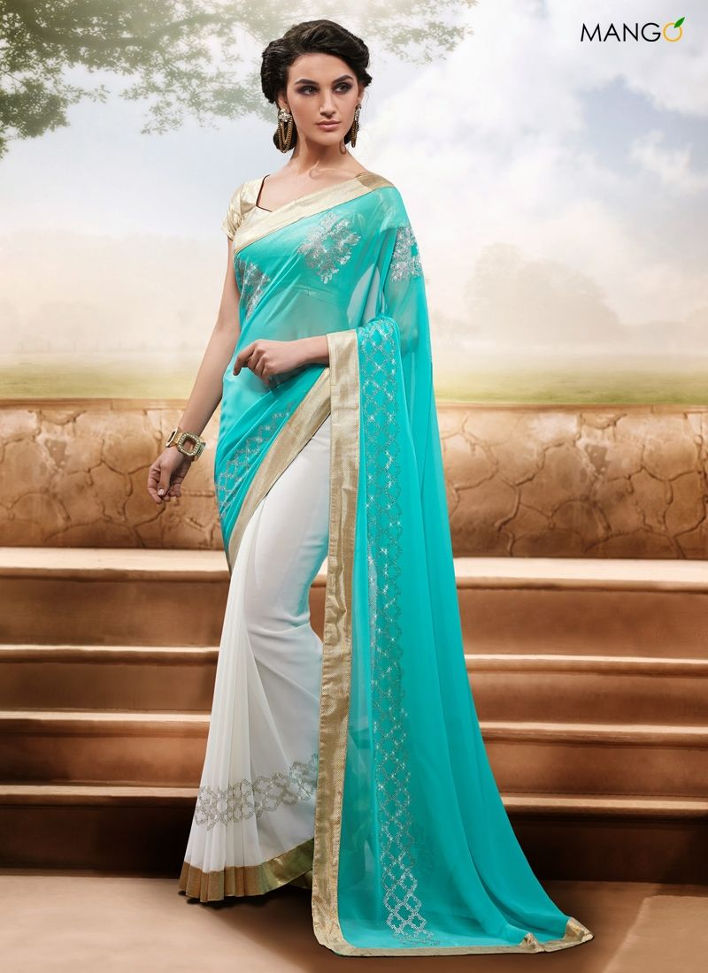 CASUAL CYAN AND OFF WHITE TRADITIONAL SAREE CODE:-6137 PRICE:-2933 ...