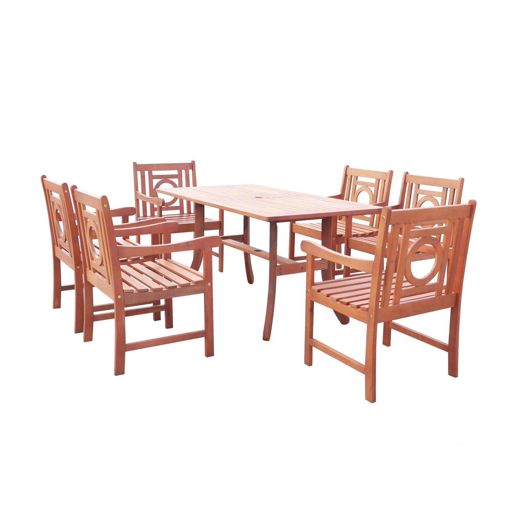 malibu 7pc rectangle hardwood outdoor eco friendly patio dining