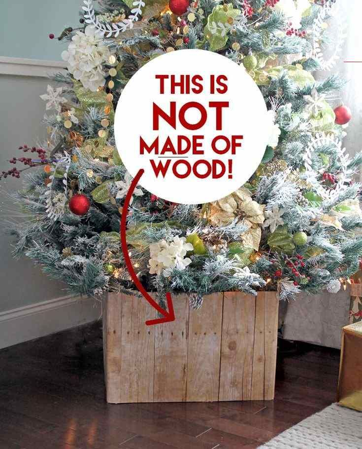 Make A Tree Collar for $4!!! - #christmastree - Make a faux barn wood Christmas tree skir… in ...
