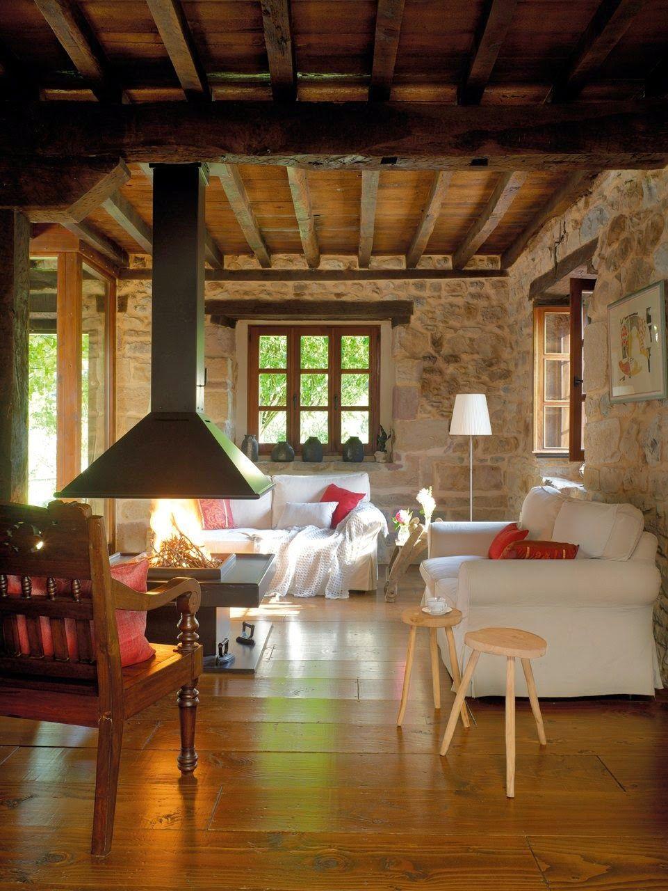 Salas r sticas forro parede de pedra e lareira central - Pared rustica interior ...