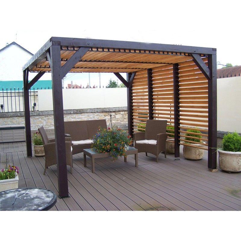 Pergola en bois avec ventelles amovibles sur toiture + 1 côté