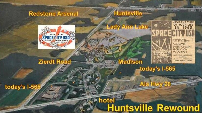 Space City USA Theme Park Huntsville AL Map of Park drawing 1964