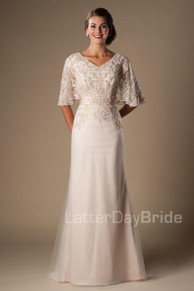 a675d4fb49e6 Primrose- blush pink modest wedding gown- flutter sleeve- $1625- found at  Gateway Bridal in Salt Lake