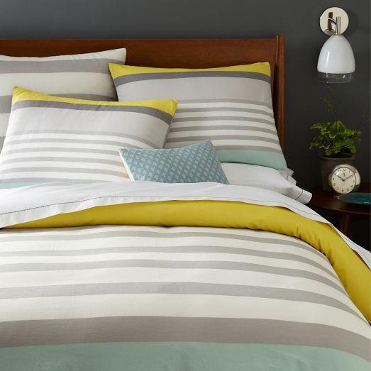 Color Block Stripe Duvet Cover, Sea Mist