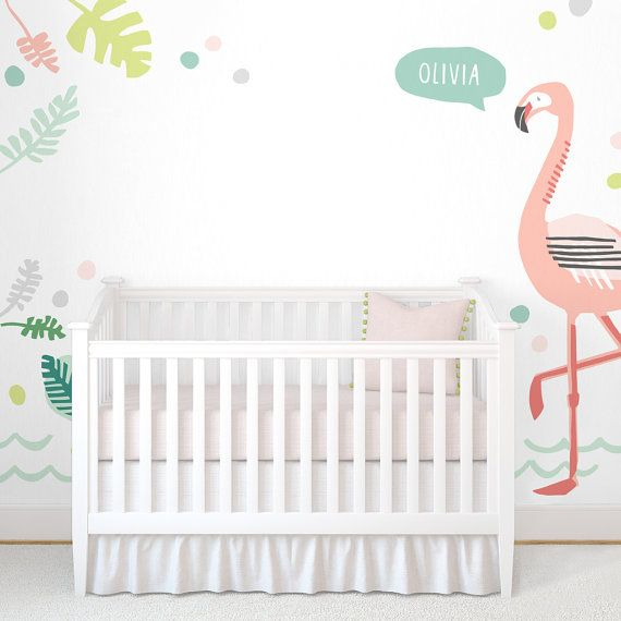 Personalized Flamingo Fabric Wall Decal Tropical Mej