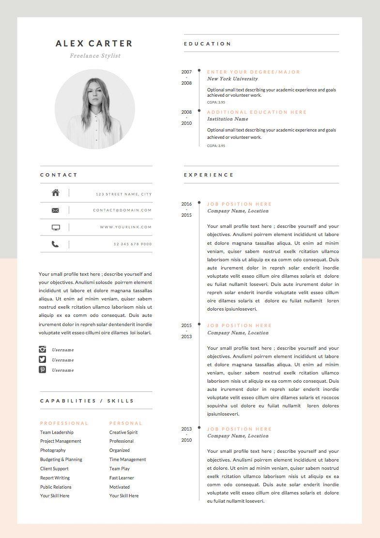 Modern Resume Template Cover Letter Icon Set For Microsoft Word 4 Page Pack Professional Cv Instant Download The Scandi Modele Cv Modele De Cv Moderne Cv Moderne