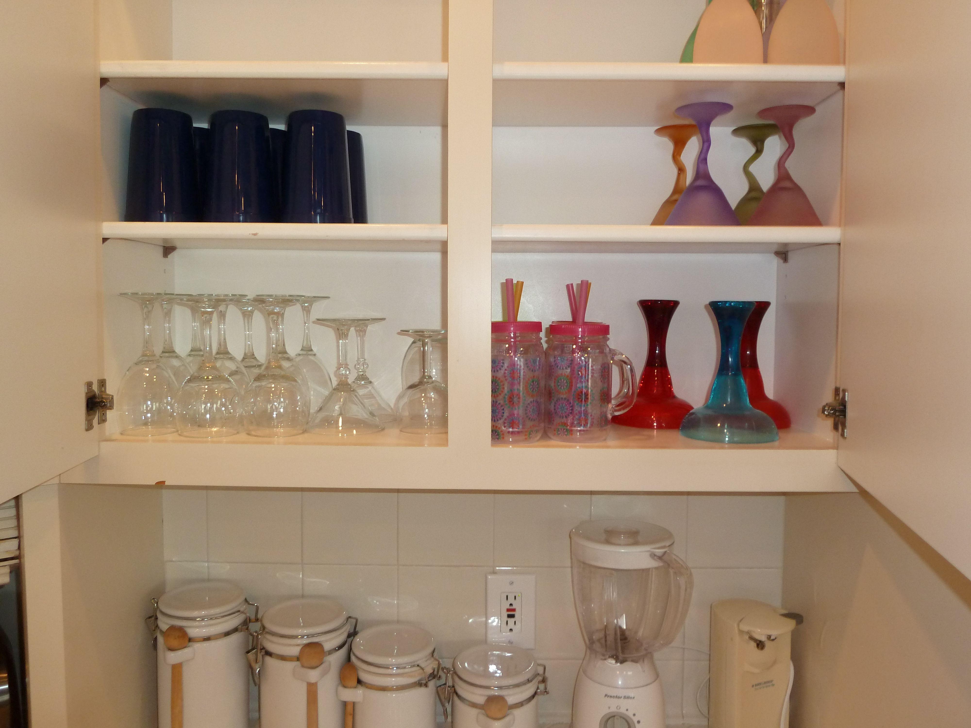Upper Cabinet Left of Refrigerator Glasses Wine Glasses
