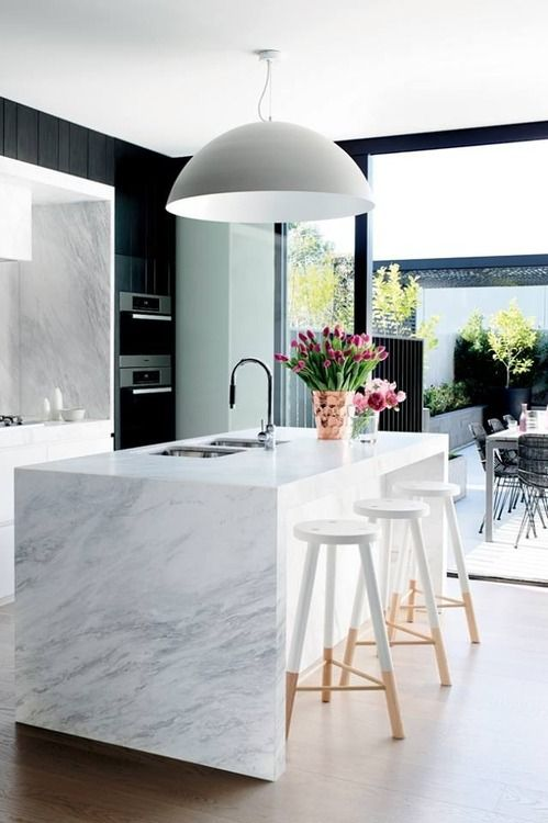 marble slab counter top large bowl and island pendants