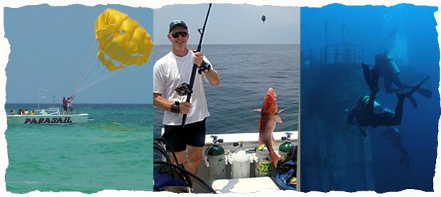 Pensacola Beach Florida Activities Snorkeling Swimming Diving Parasailing