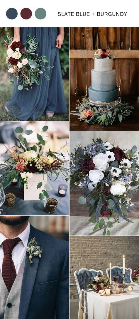 Photo of slate blue and burgundy fall wedding color ideas … the winter so you should be…