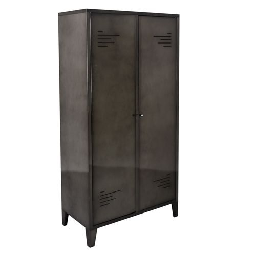 lofter armoire 2 portes en m tal gris alin a rangement pinterest armoires. Black Bedroom Furniture Sets. Home Design Ideas