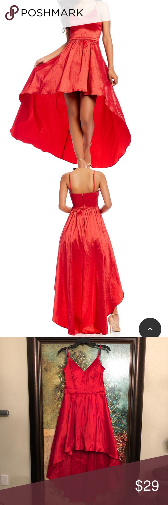 Strappy red hi lo homecoming dress size in my posh