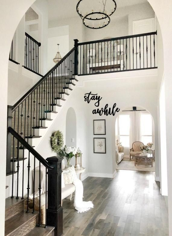 Stay Awhile Sign Stay Awhile Metal Words Word Signs Farmhouse Word Sign Farmhouse Decor In 2021 Staircase Remodel Dream Home Design Staircase Design