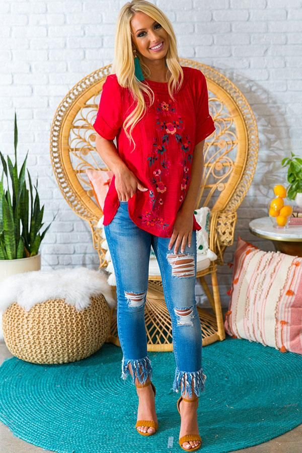 Meet Me In Paradise Shift Top in Red