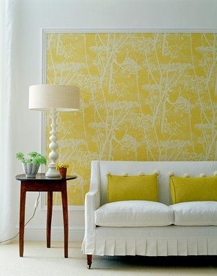 framed wall paper as art accent wall living room | Living Rooms ...