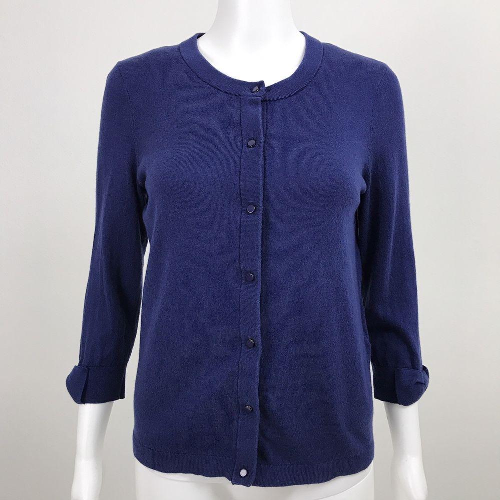 Kate Spade Navy Blue Cashmere Blend Button Down Long Sleeve ...