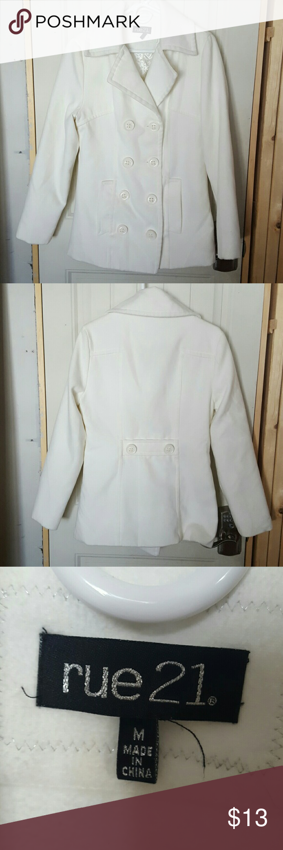Rue 21 Cream Color Polyester/Wool Blend Pea Coat Gently used pea coat, 2 front pockets and faux belt on back. Machine washable! Rue 21 Jackets & Coats Pea Coats