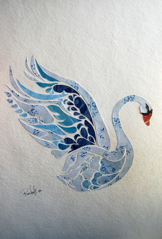 Paper Collage, The Swan, Swan Art, Nature Collage, Bird Art ...