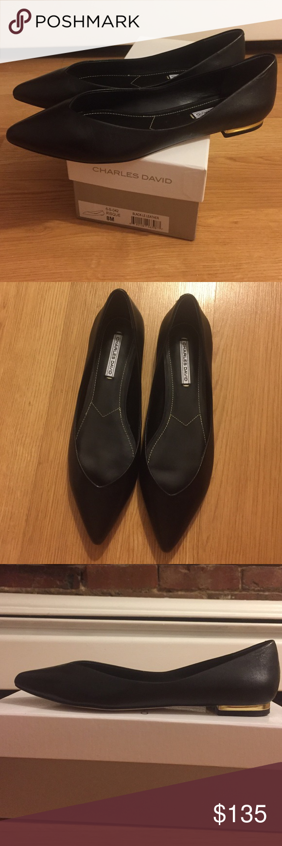 NWT Black Leather Flats Brand new in the box, black leather pointed toe 'Risque' flats from Charles by Charles David. Size US W8. Never been worn or used, but super cute with gold trim on the heel. Charles David Shoes Flats & Loafers