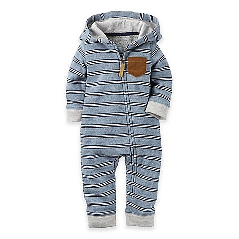 d617b006763 image of carter s® Hooded French Terry Jumpsuit in Blue