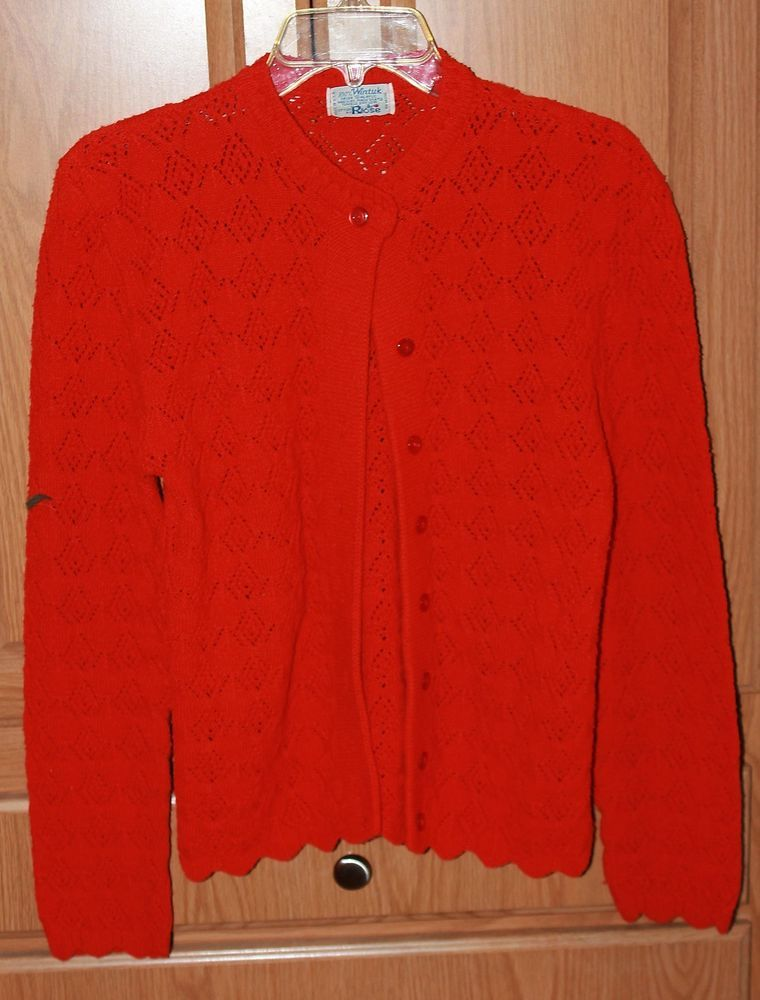 Vtg Wintuk Cardigan Sweater Sz L Bright Red Scalloped Bottom Hem ...