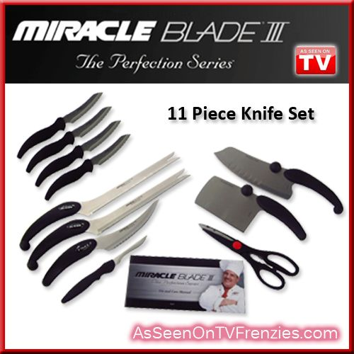 Effortlessly slice, dice, cut & chop through any type of food with the Miracle Blade III Perfection Series knife set! This makes a great gift and is an awesome value. (Block sold separately). $29.97